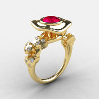 10K Yellow Gold Ruby Diamond Leaf and Mushroom Wedding Ring Engagement Ring NN103A-10KYGDR-1
