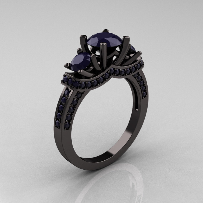French 14K Black Gold Three Stone Dark Blue Sapphire Wedding Ring Engagement