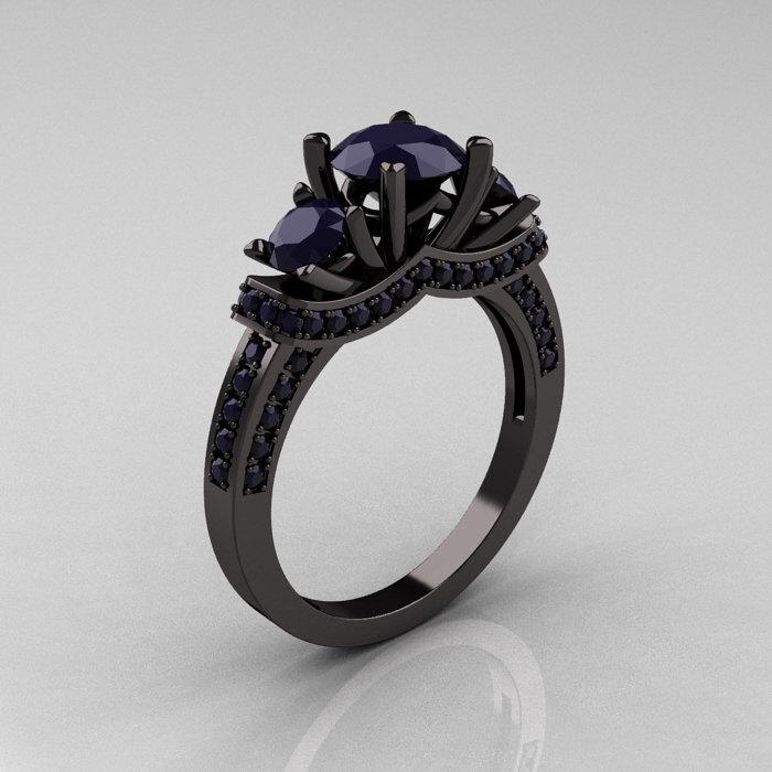 French 14k Black Gold Three Stone Dark Blue Shire Wedding Ring Engagement R182 14kbgddbs