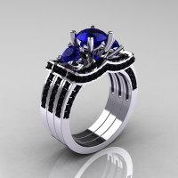 French 14K White Gold Three Stone Blue Sapphire Black Diamond Wedding Ring Engagement Ring Double Flush Bridal Set R182S2-14KWGBDBS-1