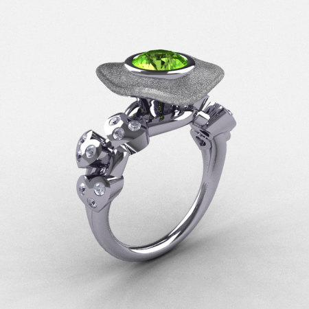 Natures Nouveau 18K White Gold Peridot Diamond Leaf and Mushroom Wedding Ring Engagement Ring NN103SA-18KWGDP-1