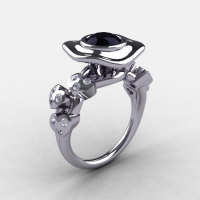 14K White Gold Black Diamond Leaf and Mushroom Wedding Ring Engagement Ring NN103A-14KWGDBD-1