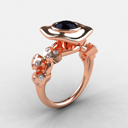 14K Rose Gold Black Diamond Leaf and Mushroom Wedding Ring Engagement Ring NN103A-14KRGDBD-1