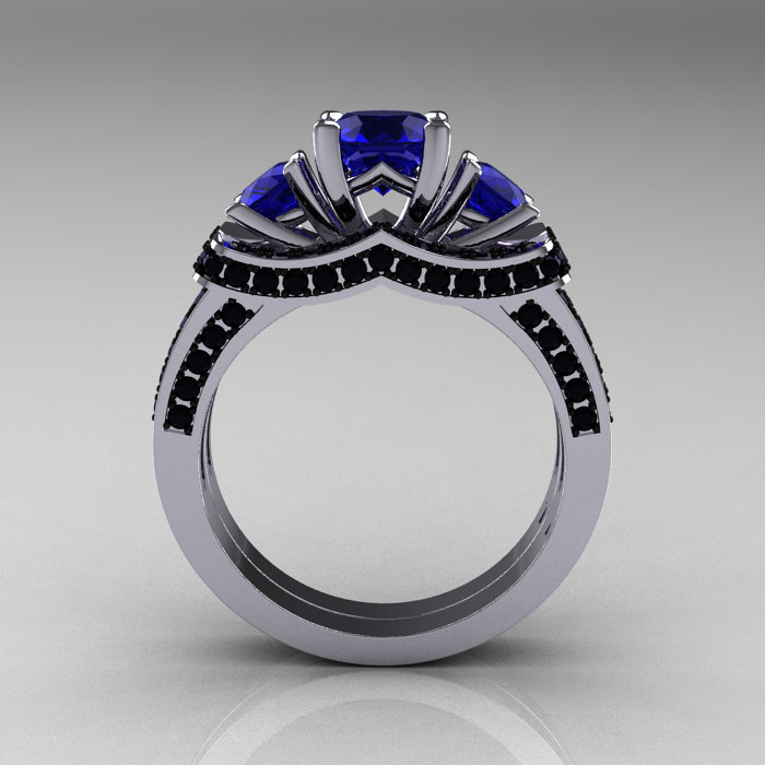 French 14K White Gold Three Stone Blue Sapphire Black Diamond Wedding Ring En
