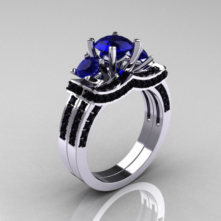 French 14K White Gold Three Stone Blue Sapphire Black Diamond Wedding Ring Engagement Ring Bridal Set R182S-14KWGBDBS-1
