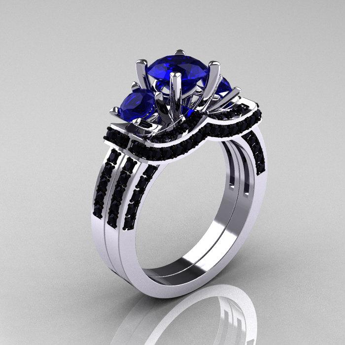 French 14k White Gold Three Stone Blue Shire Black Diamond Wedding Ring Engagement Bridal Set