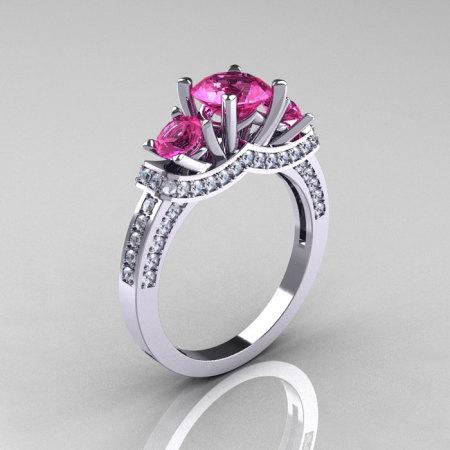 French 18K White Gold Three Stone Pink Sapphire Diamond Wedding Ring Engagement Ring R182-18KWGDPS-1