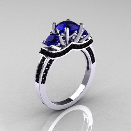 French 14K White Gold Three Stone Blue Sapphire Black Diamond Wedding Ring Engagement Ring R182-14KWGBDBS-1