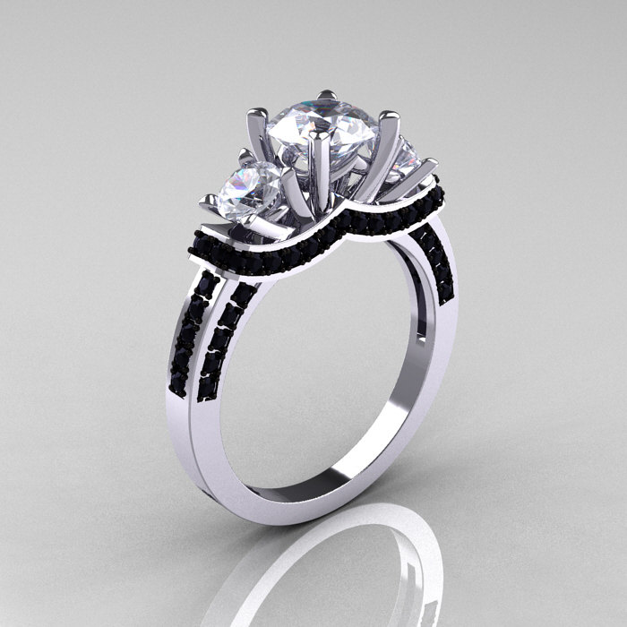French 14K White Gold Three Stone White Sapphire Black Diamond Wedding Ring E