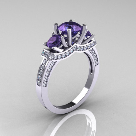 French 18K White Gold Three Stone Alexandrite Diamond Wedding Ring Engagement Ring R182-18KWGDAL-1