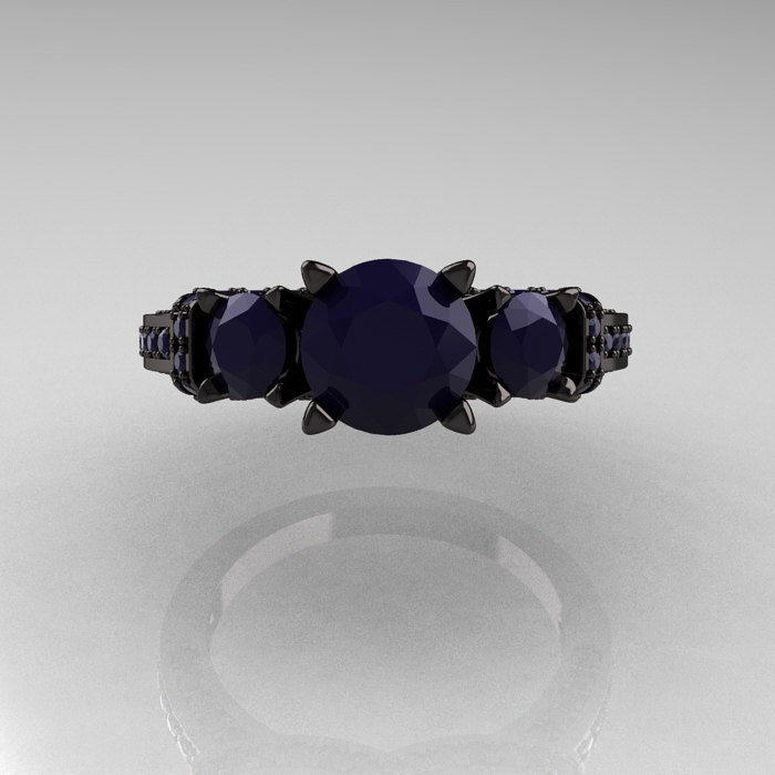 French 14k Black Gold Three Stone Dark Blue Sapphire Wedding Ring Engagement Ring R182