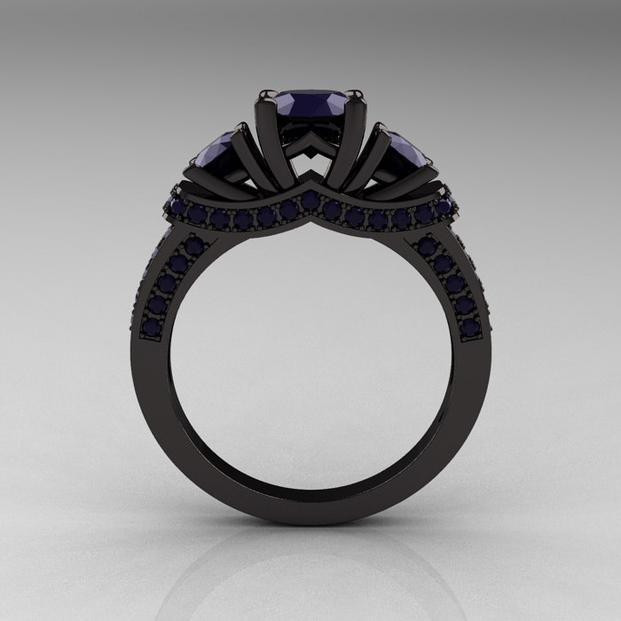 French 14k Black Gold Three Stone Dark Blue Sapphire