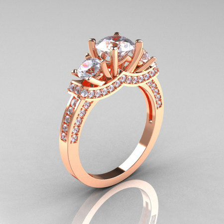 French 14K Rose Gold Three Stone CZ Diamond Wedding Ring Engagement Ring R182-14KRGDCZ-1