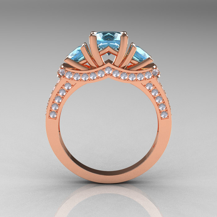 French 14k Rose Gold Three Stone Aquamarine Diamond Wedding Ring Engagement Ring R182