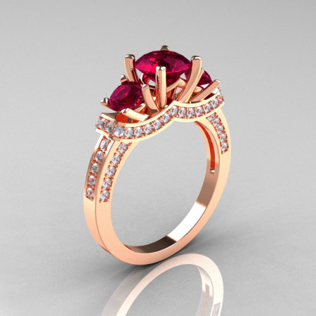 French 10K Rose Gold Three Stone Garnet Diamond Wedding Ring Engagement Ring R182-10KRGDG-1