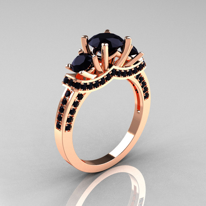 French 18K Rose Gold Three Stone Black Diamond Wedding Ring Engagement Ring R