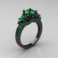 French 14K Black Gold Three Stone Emerald Wedding Ring Engagement Ring R182-14KBGEM-1