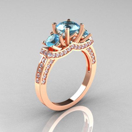 French 14K Rose Gold Three Stone Aquamarine Diamond Wedding Ring Engagement Ring R182-14KRGDAQ-1