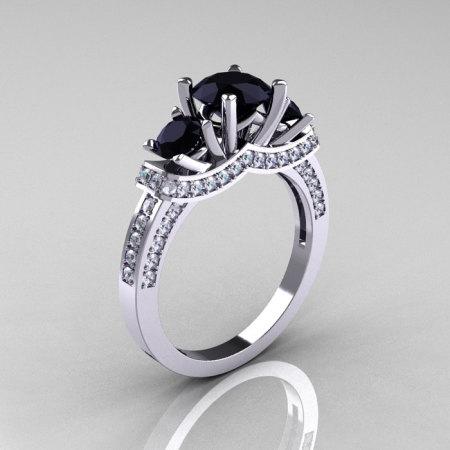French 14K White Gold Three Stone Black and White Diamond Wedding Ring Engagement Ring R182-14KWGDBD-1