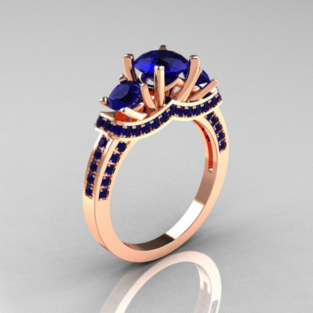 French 14K Rose Gold Three Stone Blue Sapphire Wedding Ring Engagement Ring R182-14KRGBSS-1