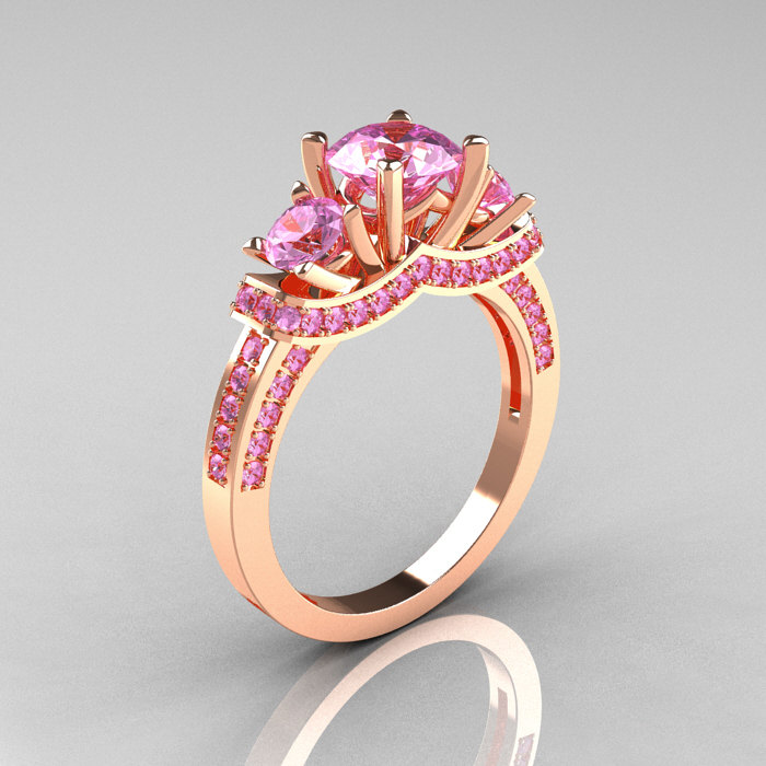 French 14K Rose Gold Three Stone Light Pink Sapphire Wedding Ring