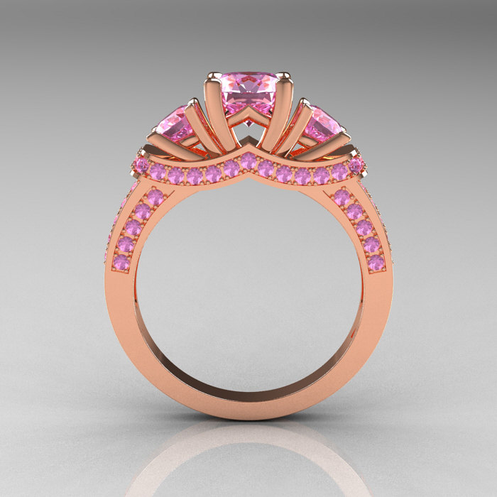 French 14K Rose Gold Three Stone Light Pink Sapphire Wedding Ring Engagement