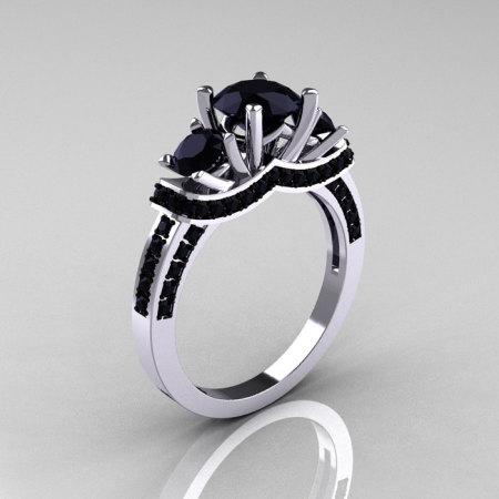 French 10K White Gold Three Stone Black Diamond Wedding Ring Engagement Ring R182-10KWGBDD-1