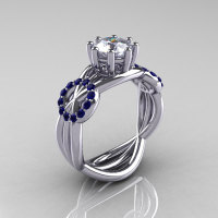 Modern Bridal 10K White Gold 1.0 CT White and Blue Sapphire Designer Ring R181-10KWGBSWS-1