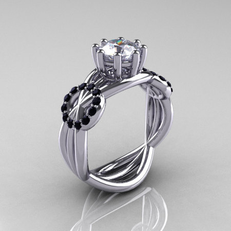 Modern Bridal 10K White Gold 1.0 CT White Sapphire Black Diamond Designer Ring R181-10KWGBDWS-1
