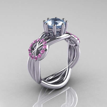 Modern Bridal 14K White Gold 1.0 CT Aquamarine Light Pink Sapphire Designer Ring R181-14KWGLPSAQ-1
