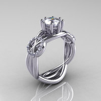 Modern Bridal 14K White Gold 1.0 CT White Sapphire Diamond Designer Ring R181-14KWGDWS-1