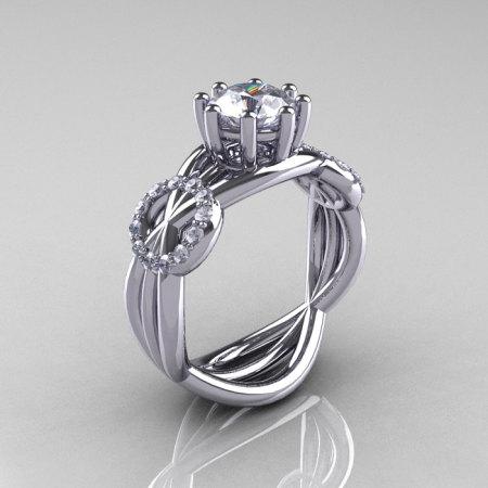 Modern Bridal 14K White Gold 1.0 CT White Sapphire Diamond Designer Ring R181-14KWGDWS-1
