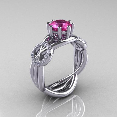 Modern Bridal 14K White Gold 1.0 CT Pink Sapphire Diamond Designer Ring R181-14KWGDPS-1