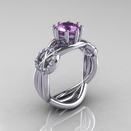 Modern Bridal 10K White Gold 1.0 CT Lilac Amethyst Diamond Designer Ring R181-10KWGDLA-1