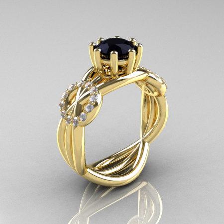 Modern Bridal 14K Yellow Gold 1.0 CT Black and White Diamond Designer Ring R181-14KYGDBD-1