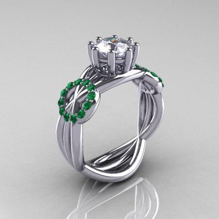 Modern Bridal 14K White Gold 1.0 CT Cubic Zirconia Emerald Designer Ring R181-14KWGEMCZ-1
