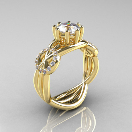 Modern Bridal 10K Yellow Gold 1.0 CT White Sapphire Diamond Designer Ring R181-10KYGDWS-1