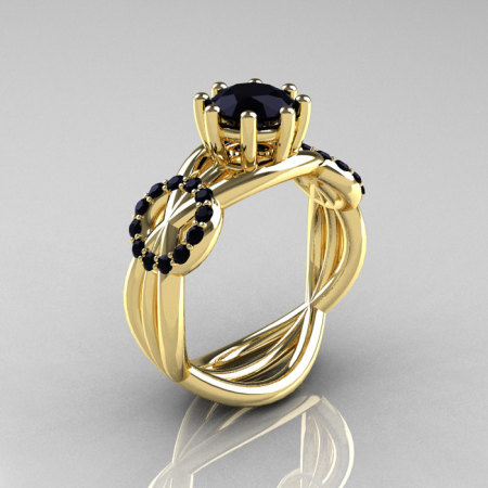 Modern Bridal 18K Yellow Gold 1.0 CT Black Diamond Designer Ring R181-18KYGBDD-1