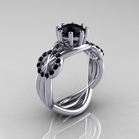 Modern Bridal 14K White Gold 1.0 CT Black Diamond Designer Ring R181-14KWGBDD-1