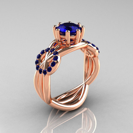 Modern Bridal 14K Rose Gold 1.0 CT Blue Sapphire Designer Ring R181-14KRGBSS-1