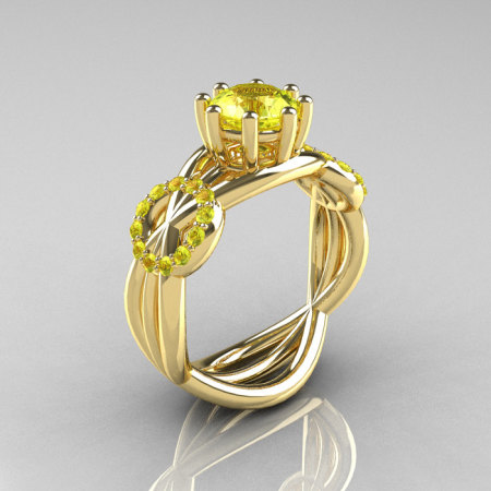 Modern Bridal 14K Yellow Gold 1.0 CT Yellow Sapphire Designer Ring R181-14KYGYSS-1