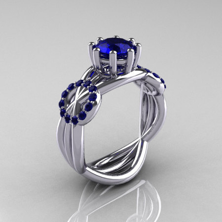 Modern Bridal 14K White Gold 1.0 CT Blue Sapphire Designer Ring R181-14KWGBSS-1