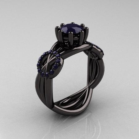 Modern Bridal 14K Black Gold 1.0 CT Dark Blue Sapphire Designer Exclusive Ring R181-14KBGDBSS-1