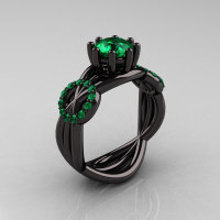 Modern Bridal 14K Black Gold 1.0 CT Emerald Designer Exclusive Ring R181-14KBGEMM-1