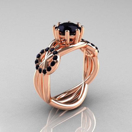 Modern Bridal 14K Rose Gold 1.0 CT Black Diamond Designer Ring R181-14KRGBDD-1