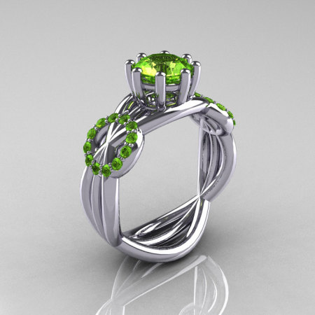Modern Bridal 14K White Gold 1.0 CT Peridot Ring R181-14KWGP-1