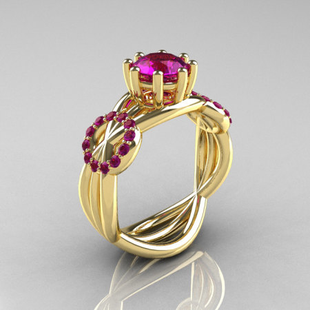Modern Bridal 14K Yellow Gold 1.0 CT Amethyst Ring R181-14KYGAM-1
