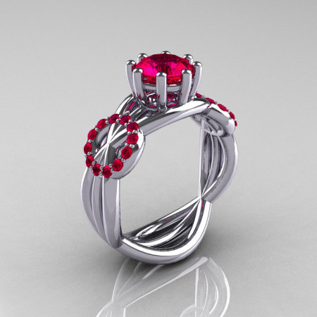 Modern Bridal 14K White Gold 1.0 CT Ruby Ring R181-14KWGR-1