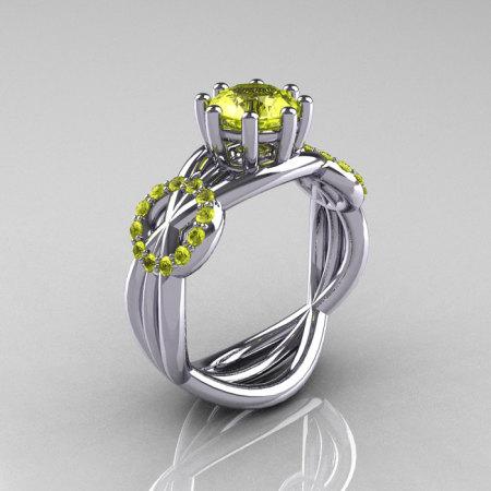 Modern Bridal 14K White Gold 1.0 CT Yellow Topaz Ring R181-14KWGYT-1