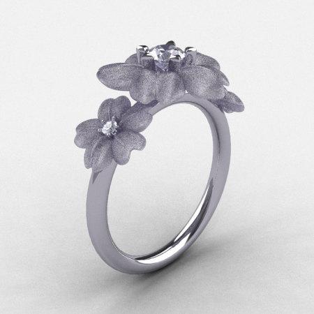 14K White Gold White Sapphire Diamond Flower Wedding Ring Engagement Ring NN107-14KWGDWS-1